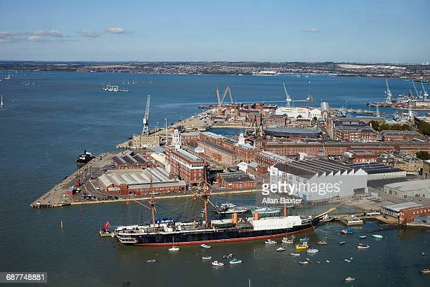 aerial view of portsmouth historic harbour - history stock pictures, royalty-free photos & images