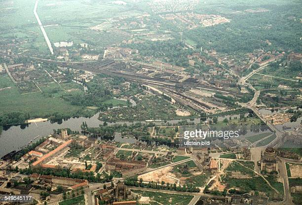 GDR aerial view of Potsdam and the 'Friendship Island' around 1958