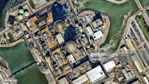 aerial view of power plant. florida, usa - power station stock pictures, royalty-free photos & images