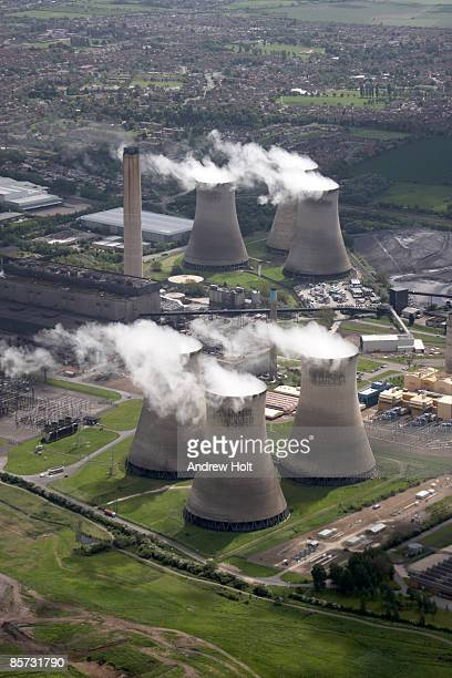aerial view of power station - industrial district stock pictures, royalty-free photos & images