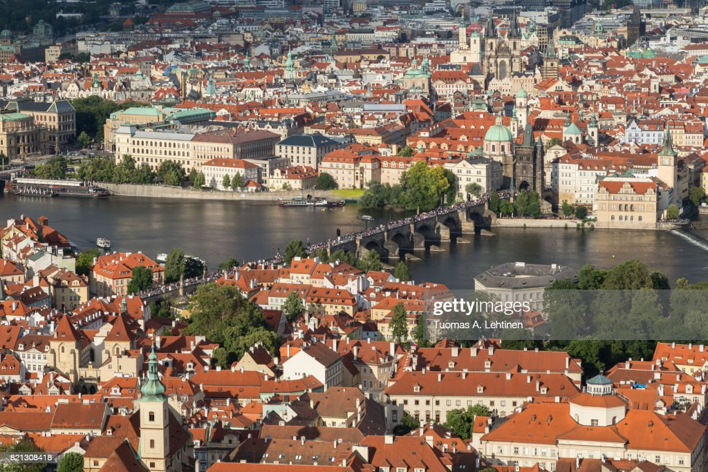 Aerial view of Prague city : Stock Photo
