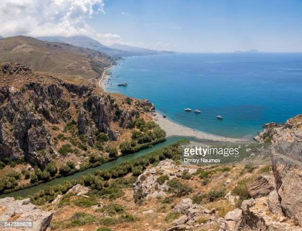 Aerial view of Preveli palm beach and lagoon, Rethymno, Crete,  Greece, Mediterranean
