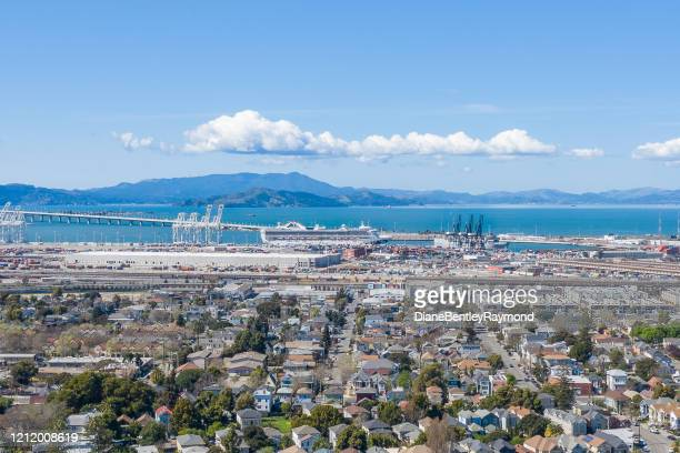 aerial view of princess cruise ship in oakland - oakland california skyline stock pictures, royalty-free photos & images