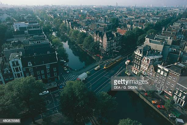 Aerial view of Prinsengracht canal at Amsterdam canal ring area Holland Netherlands