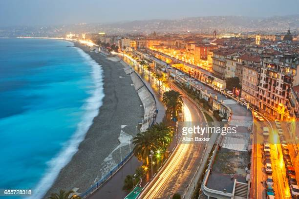 Aerial view of 'Promenade des Anglais' in Nice