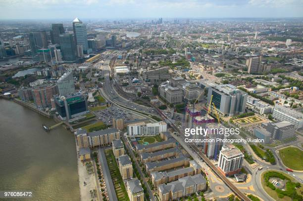 Aerial view of property development in the Docklands, London, UK.