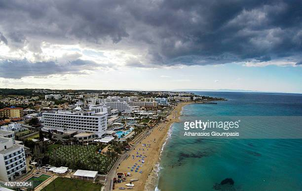 Aerial view of Protaras a predominantly tourist resort on April 12 2015 in Larnaca CyprusProtaras has clear skyblue waters and sandy beaches the most...
