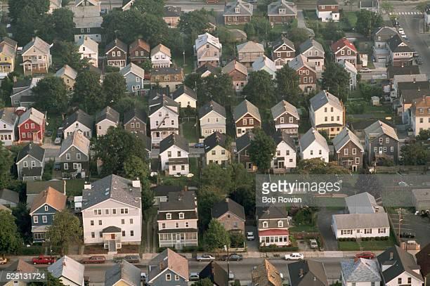 aerial view of providence neighborhood - ロードアイランド州プロビデンス ストックフォトと画像