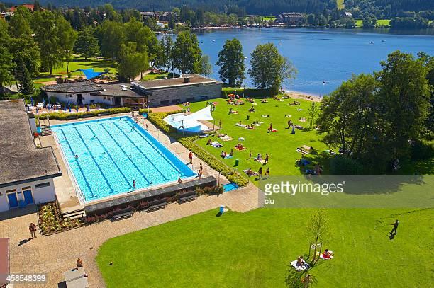 Luftbild von öffentlichen pool