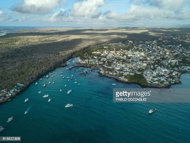 Aerial view of Puerto Ayora bay in Santa Cruz Island Galapagos Ecuador on January 21 2018 Ecuador's growing tourism threatens the country's fragile...