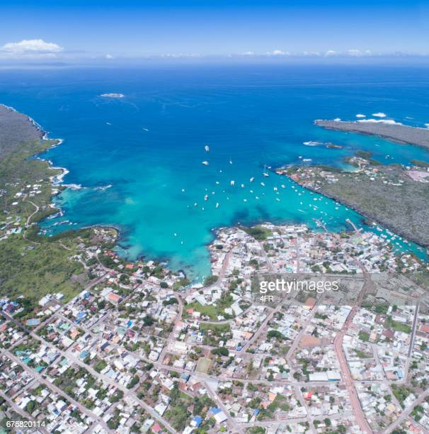 aerial view of puerto ayora, santa cruz, galapagos islands, ecuador - santa cruz island galapagos islands stock pictures, royalty-free photos & images