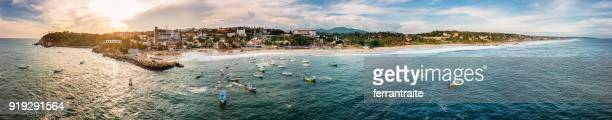 aerial view of puerto escondido in oaxaca, mexico - oaxaca stock pictures, royalty-free photos & images