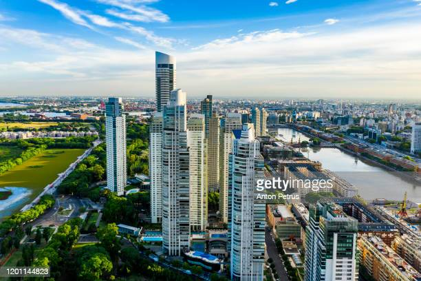 aerial view of puerto madero at sunset. buenos aires, argentina. - argentina stock pictures, royalty-free photos & images