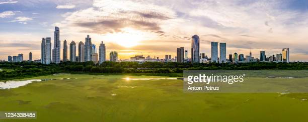 aerial view of puerto madero at sunset. buenos aires, argentina. - buenos aires stock pictures, royalty-free photos & images