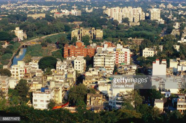 Aerial view of Pune City from Parvati, Maharashtra, India.