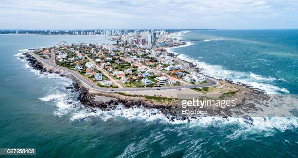 aerial view of punta del este city, drone point of view, maldonado department, uruguay - uruguay stock pictures, royalty-free photos & images