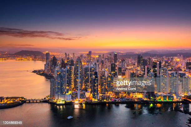 aerial view of punta pacifica skyline, panama city - panama city panama stock pictures, royalty-free photos & images