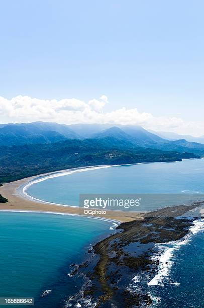 aerial view of punta uvita in marino ballena national park - ogphoto stock photos and pictures