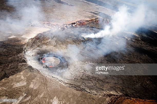 aerial view of pu'u o'o crater, june 2012 - active volcano stock pictures, royalty-free photos & images