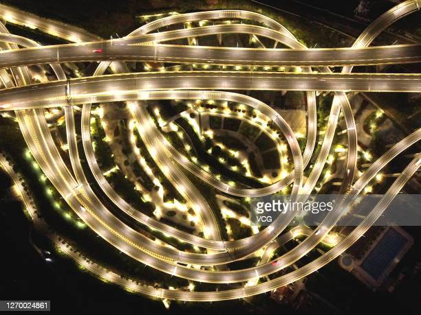Aerial view of Qianchun overpass being illuminated on September 1, 2020 in Guiyang, Guizhou Province of China.