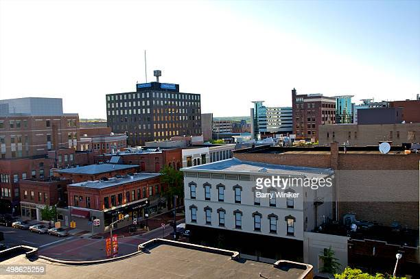 aerial view of quaint downtown area - kalamazoo stock pictures, royalty-free photos & images