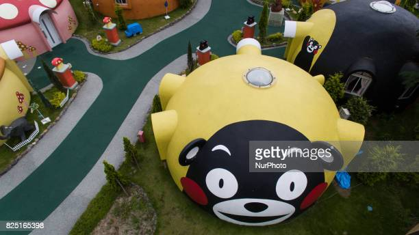 Aerial view of Quakeproof dome house painted with Kumamon character were seen in Aso Farm Land Kumamoto prefecture Japan July 31 2017