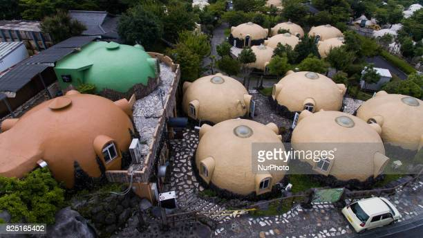 Aerial view of Quakeproof dome houses in Aso Farm Land Kumamoto prefecture Japan July 31 2017
