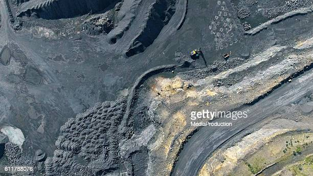 aerial view of quarry - coal mining stock photos and pictures
