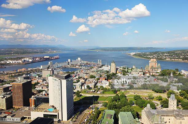 aerial view of quebec city and st-lawrence river - buzbuzzer stock pictures, royalty-free photos & images