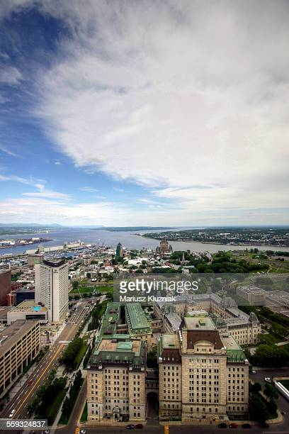 Aerial view of Quebec city, port and river
