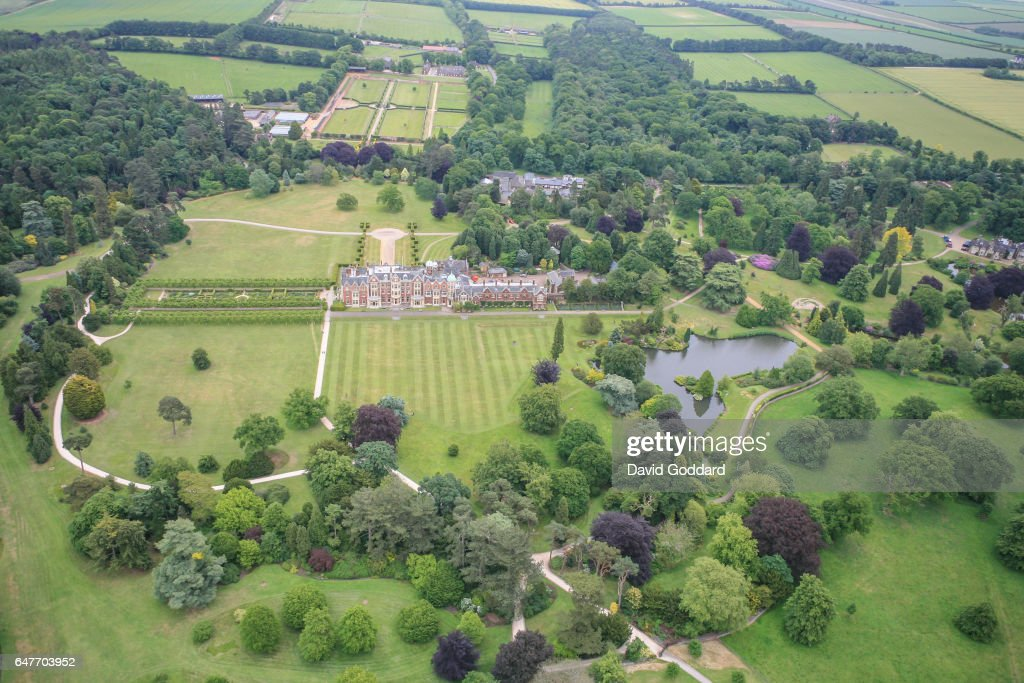 Aerial view of Queen Elizabeth II's Country residence, Sandringham Hall on October 3, 2006 in Sandringham, England. This Jacobean Country house is surrounded by 20,000 acres of Norfolk parkland.