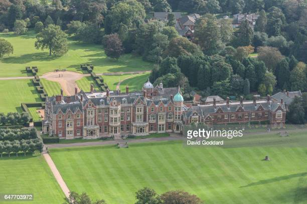 Aerial view of Queen Elizabeth II's Country residence, Sandringham Hall on October 3, 2006 in Sandringham, England. This Jacobean Country house is...