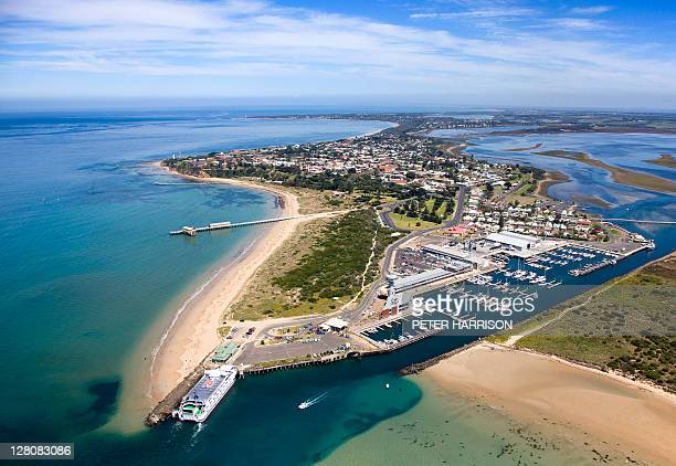 aerial view of queenscliff, victoria. - victoria australia stock pictures, royalty-free photos & images