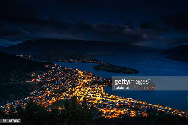 Aerial view of Queenstown at Dusk, New Zealand