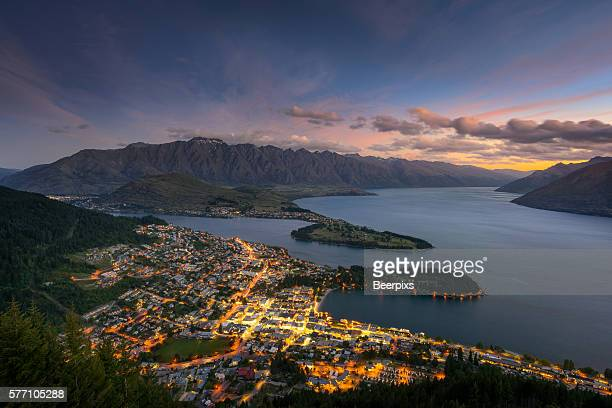 Aerial view of Queenstown in south Island, New Zealand.