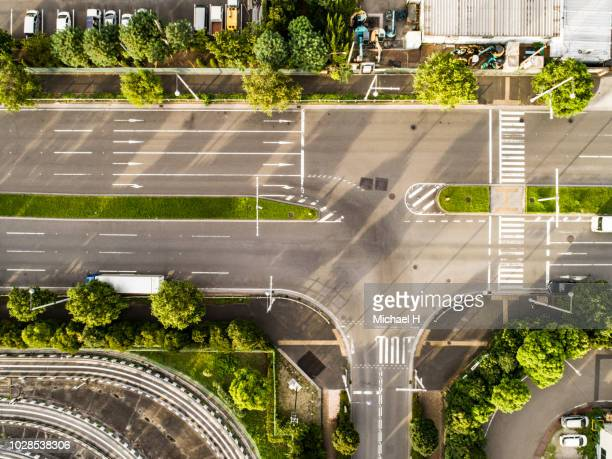 aerial view of quiet motorway - town stock pictures, royalty-free photos & images