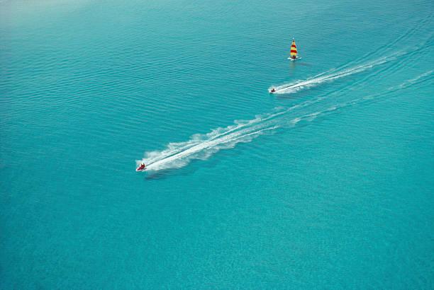 Aerial view of racing watercraft off Cuba