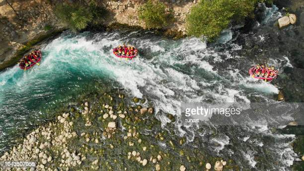 aerial view of rafting in river - rafting stock pictures, royalty-free photos & images