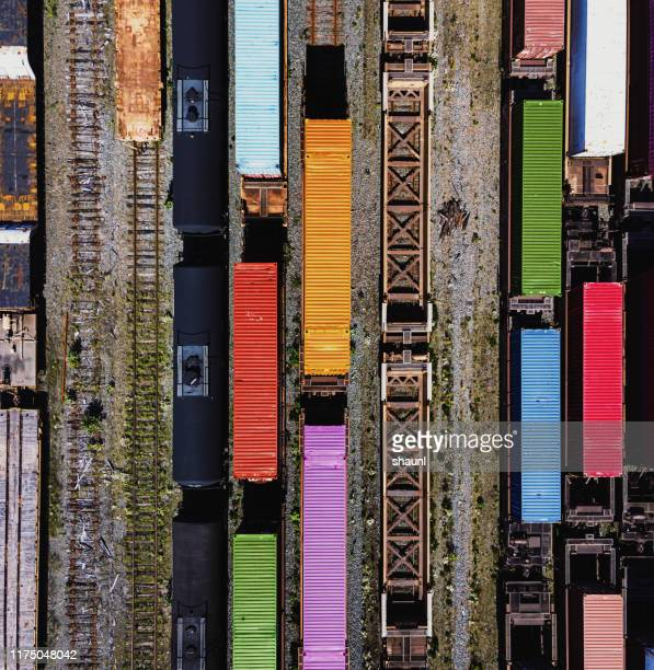 aerial view of rail yard - rail transportation stock pictures, royalty-free photos & images