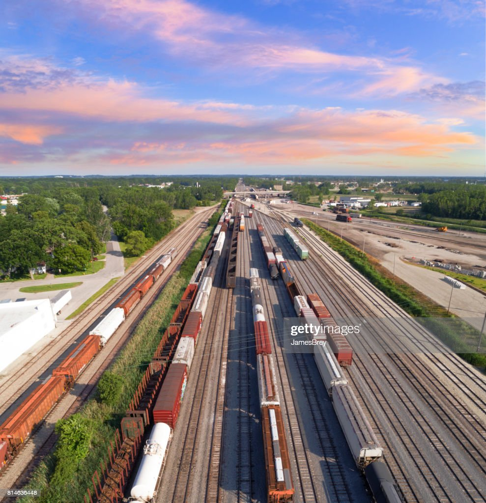 aerial view of railroad rail yard, many trains, tracks. : Stock Photo
