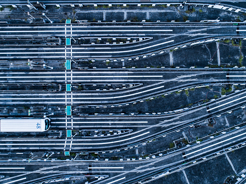 Aerial view of railroad tracks - gettyimageskorea