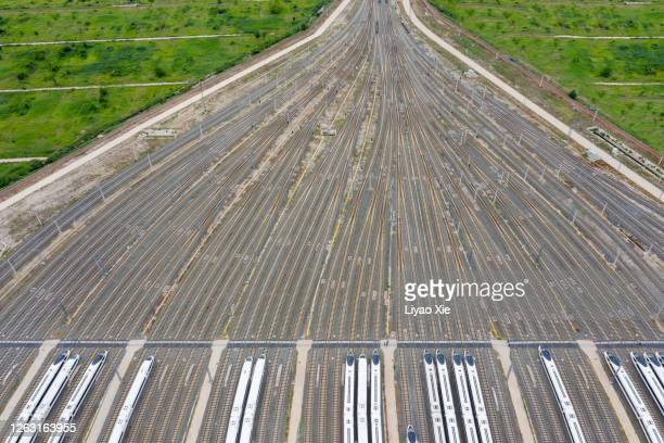 aerial view of railroad tracks - liyao xie stock pictures, royalty-free photos & images