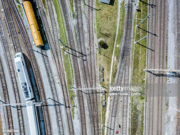 aerial view of railroad tracks - tramway stock pictures, royalty-free photos & images