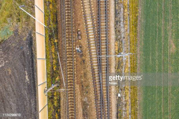 aerial view of railway track - rail transportation stock pictures, royalty-free photos & images
