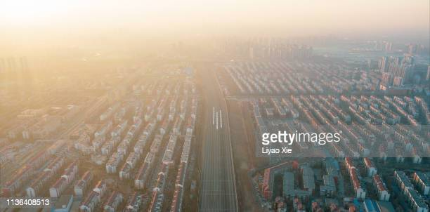 aerial view of railway track - liyao xie stock pictures, royalty-free photos & images