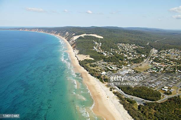 Aerial view of Rainbow Beach, Queensland, Australia