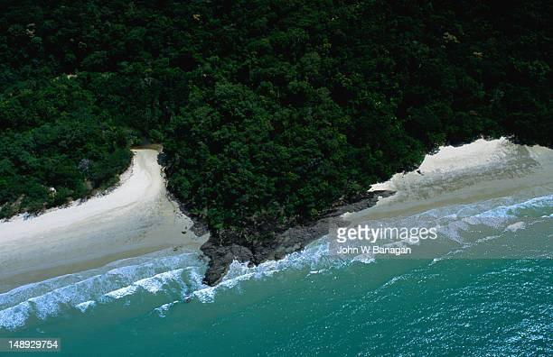 Aerial view of rainforest and beaches of Cape Tribulation.