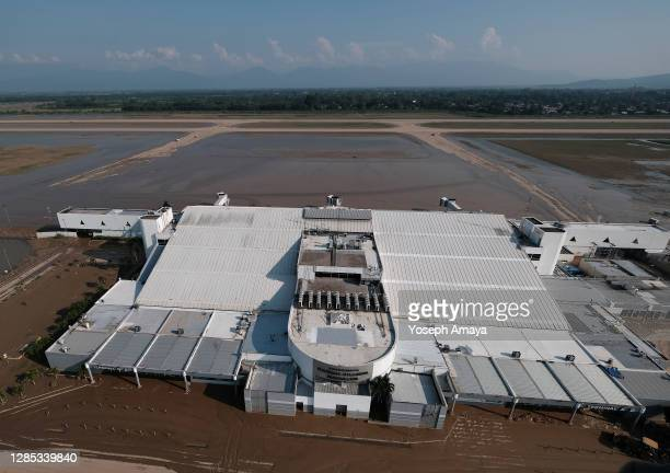 Aerial view of Ramón Villeda Morales airport which will remain closed for at least 30 days due to heavy floods brought by Era Hurricane on November...