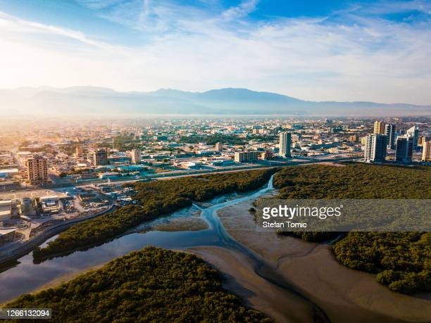 aerial view of ras al khaimah emirate in the uae - middle east stock pictures, royalty-free photos & images
