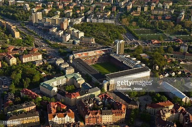 aerial view of rasunda stadium - rasunda stadium fotografías e imágenes de stock